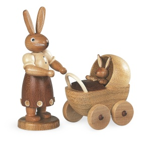 Easter bunny, female, with buggy