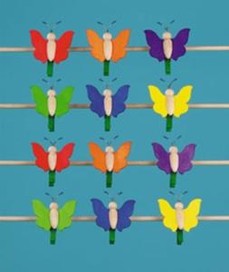 Schmetterling, groß, mit Klammer,