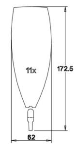 Flügel mit Dübeln 173x62x2,1
