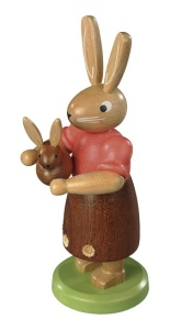 Easter bunny, female, with little child