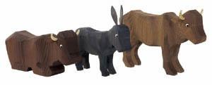 2 Ochsen und 1 Esel, 22 cm,