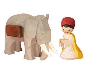Elefantentreiber kniend, 13 cm,
