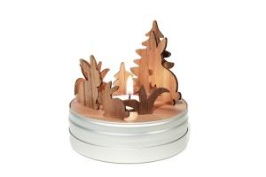 Minitheater Nussbaumsteckfiguren und Teelicht