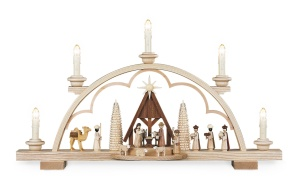 Candle arch nativity scene, with manger,