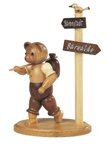 Bear, male, hiker at signpost