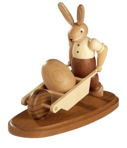Easter bunny, male, with wheelbarrow