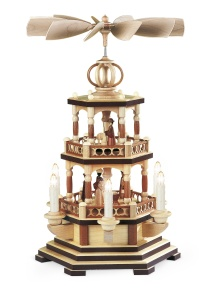 Pyramid Christmas story, 2-tier, natural,