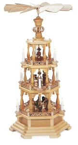 Pyramid Christmas story, 3-tier, natural