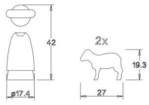 Holzfigurensatz 5: Schäfer 2xSchafe 4,5cm