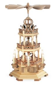 Pyramid Christmas story w.angels, 2-tier, natural