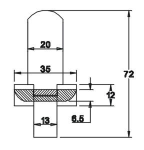 Tüllenhalter kurz 72x20x3 mit Unterleimer 12x35x6,5
