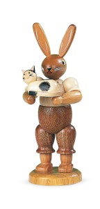 Easter bunny, male, with little cat