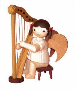 Schleifenengel mit Harfe, 12 cm,