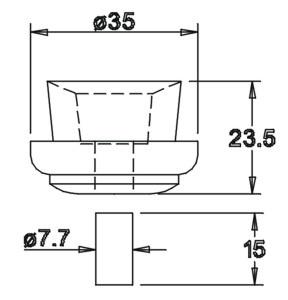 Tülle 23,5x35,0 mit Dübel 15x7,7 für 14er Einsatz