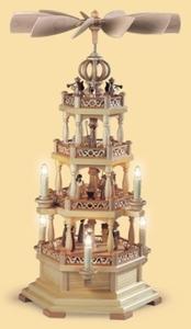 Pyramid Christmas story w.angels, 3-tier, natural