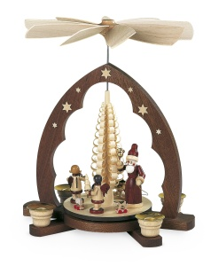 Pyramid Santa giving out X-mas presents, pointed arch,