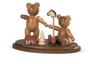 Two bear, children, playing