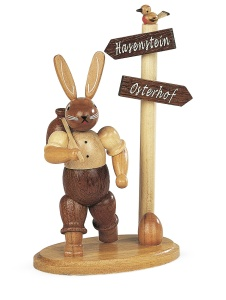 Easter bunny, male, hiker at signpost