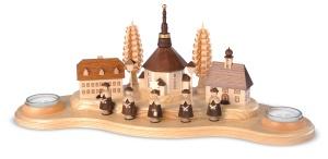 Candleholder Seiffen village, large