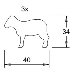 Holzfigurensatz 9: 3xSchaf (40x34mm)