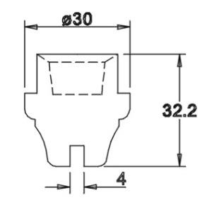 Tülle 32,2x30,0 4mm geschlitzt für 14er Einsatz