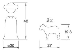 Holzfigurensatz 6: Schäfer 2xSchafe 4,5cm