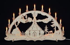 Lichterbogen, groß, innenbeleuchtet, offene Kerzen