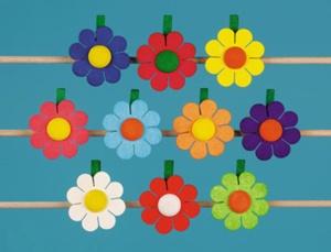 Holzblume, klein, mit Klammer,