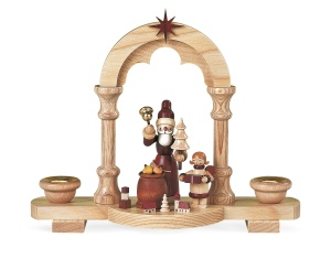 Candleholder Santa giving out Christmas