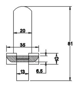 Tüllenhalter lang 81x20x3 mit Unterleimer 12x35x6,5